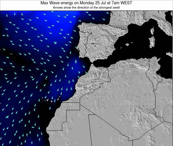 Morocco Max Wave energy on Monday 28 Jul at 6am WET