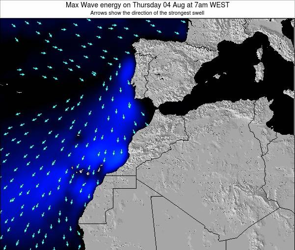 Morocco Max Wave energy on Saturday 15 Mar at 6am WET