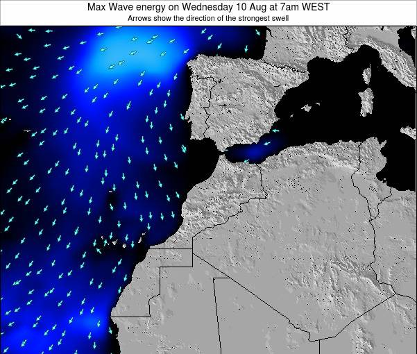 Morocco Max Wave energy on Wednesday 21 Mar at 6pm WET map