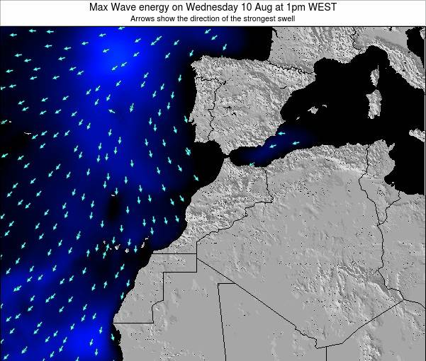 Morocco Max Wave energy on Friday 14 Mar at 6am WET