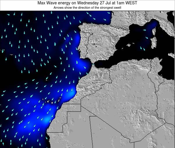 Morocco Max Wave energy on Tuesday 25 Jun at 12pm WET