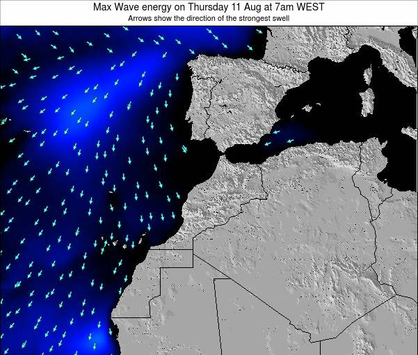 Morocco Max Wave energy on Tuesday 18 Mar at 6am WET