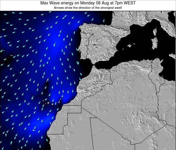 Morocco Max Wave energy on Thursday 24 Apr at 6am WET