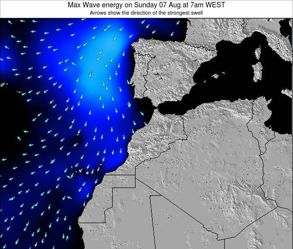 Morocco Max Wave energy on Friday 18 Apr at 12pm WET
