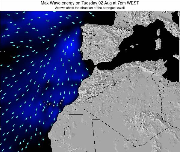 Morocco Max Wave energy on Wednesday 12 Mar at 12am WET