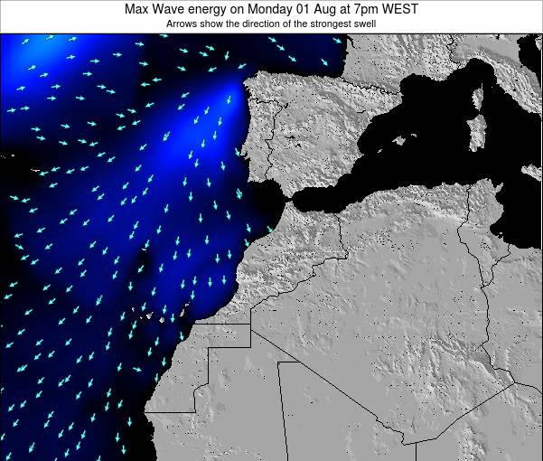 Morocco Max Wave energy on Tuesday 29 Jul at 6am WET