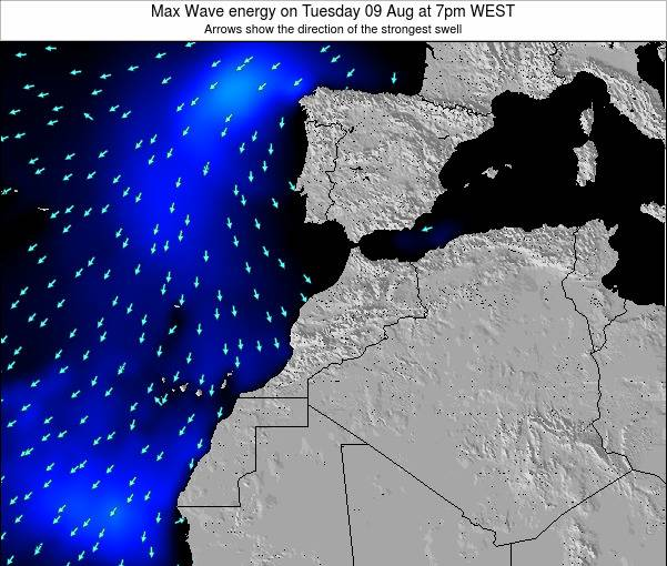 Morocco Max Wave energy on Saturday 25 May at 12am WET
