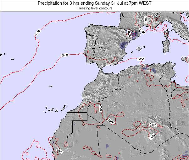 Morocco Precipitation for 3 hrs ending Thursday 25 Apr at 7pm WEST map
