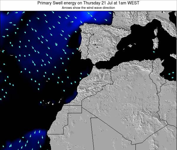 Morocco Primary Swell energy on Monday 20 May at 12am WET