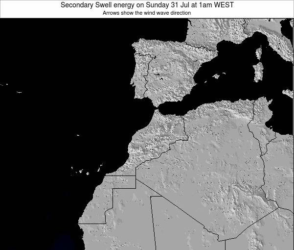 Morocco Secondary Swell energy on Saturday 25 May at 6pm WET