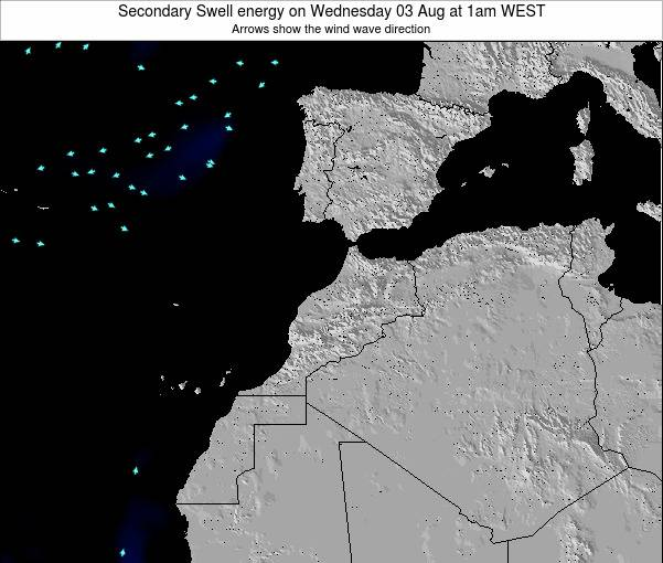 Morocco Secondary Swell energy on Monday 20 May at 6am WET