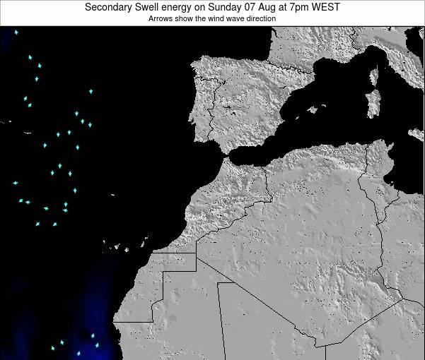 Morocco Secondary Swell energy on Wednesday 19 Jun at 6am WET