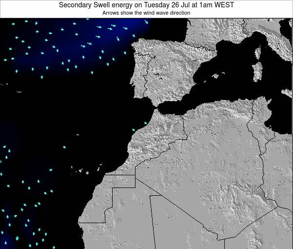 Morocco Secondary Swell energy on Monday 10 Mar at 12am WET