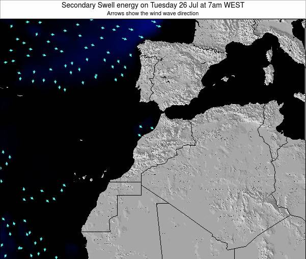 Morocco Secondary Swell energy on Monday 21 Apr at 12am WET