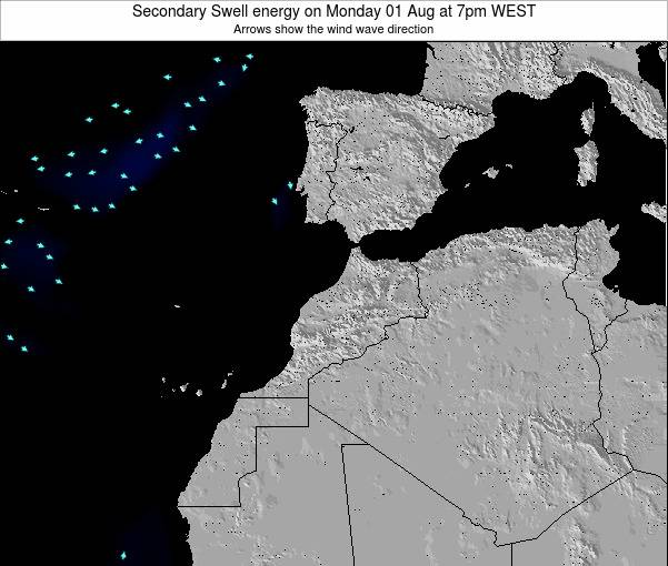 Morocco Secondary Swell energy on Saturday 02 Aug at 7pm WEST