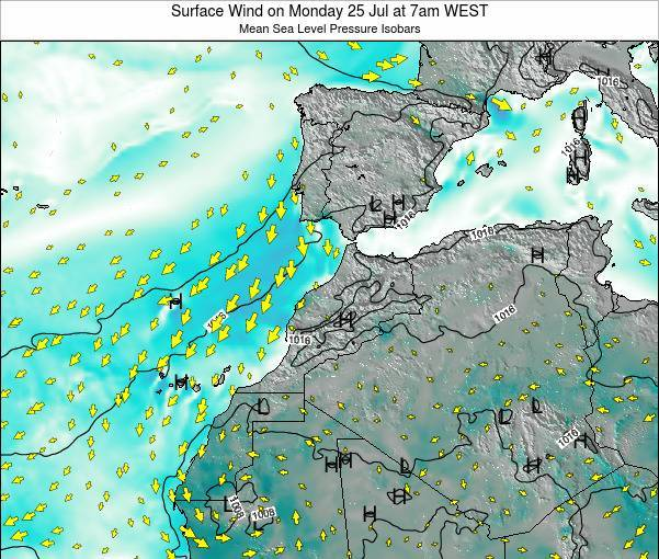 Morocco Surface Wind on Monday 22 Apr at 7pm WEST map