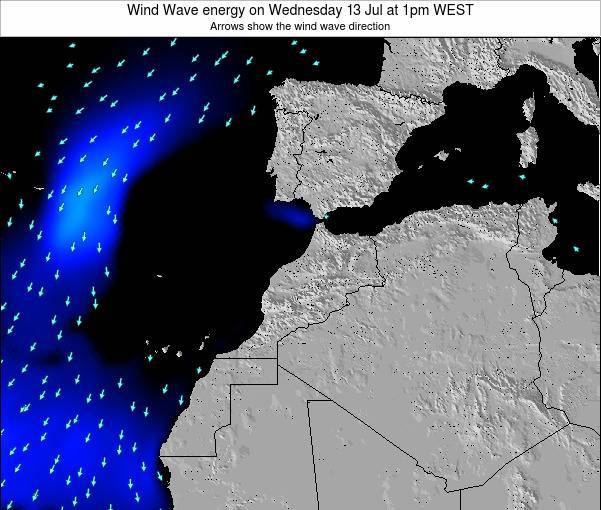 Morocco Wind Wave energy on Tuesday 16 Oct at 7pm WEST map