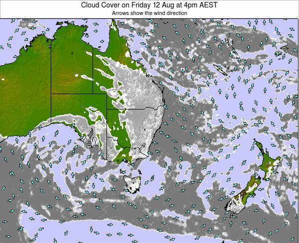 New-South-Wales Cloud Cover on Monday 24 Jun at 10am EST