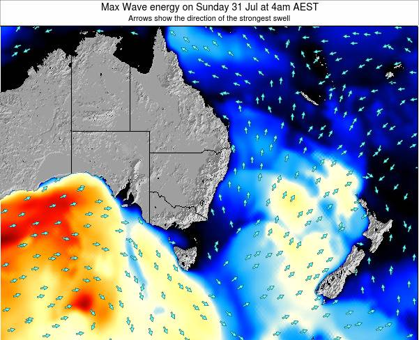 New-South-Wales Max Wave energy on Saturday 25 May at 10pm EST