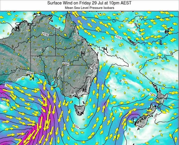 New-South-Wales Surface Wind on Thursday 07 Aug at 4am EST