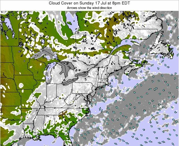 Pennsylvania Cloud Cover on Sunday 27 Apr at 2pm EDT map