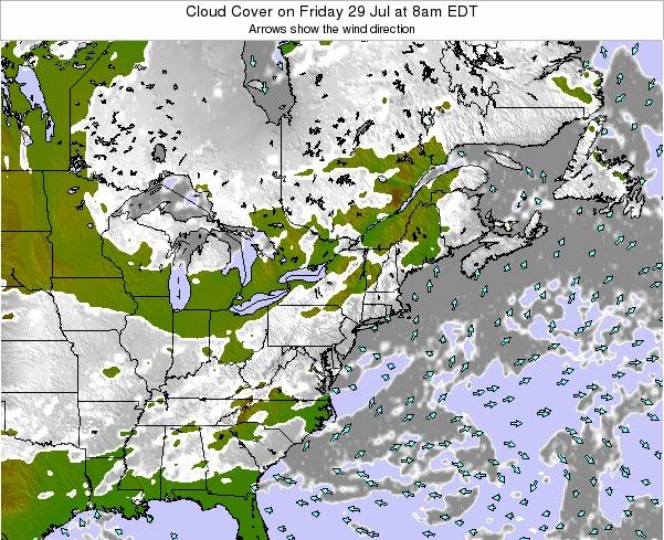Pennsylvania Cloud Cover on Friday 14 Mar at 2pm EDT map
