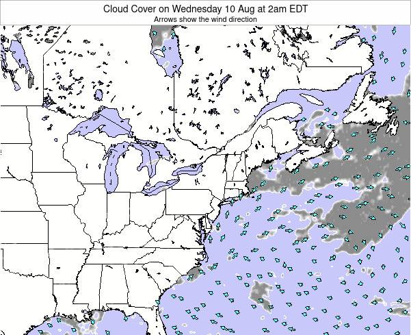 Delaware Cloud Cover on Thursday 20 Jun at 8am EDT