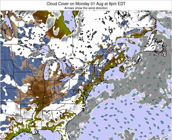 Massachusetts Cloud Cover On Sunday 10 Feb At 1am Est