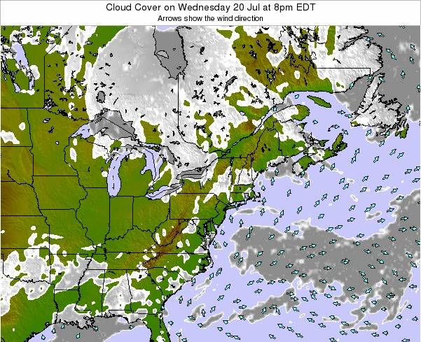 Delaware Cloud Cover on Sunday 19 May at 8pm EDT