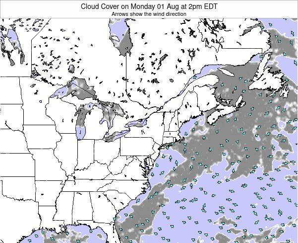 Maryland Cloud Cover on Wednesday 19 Jun at 8pm EDT