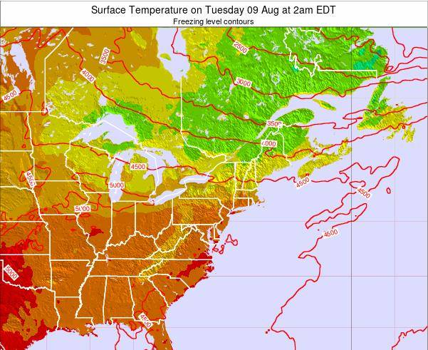 New-York Surface Temperature on Thursday 24 Apr at 8pm EDT