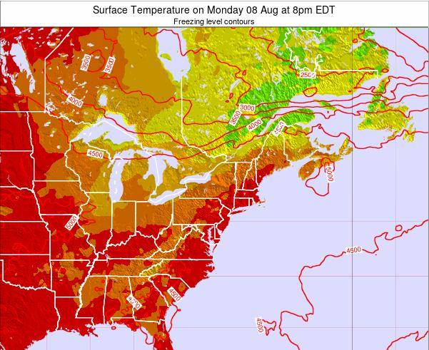 New-York Surface Temperature on Thursday 12 Dec at 1pm EST