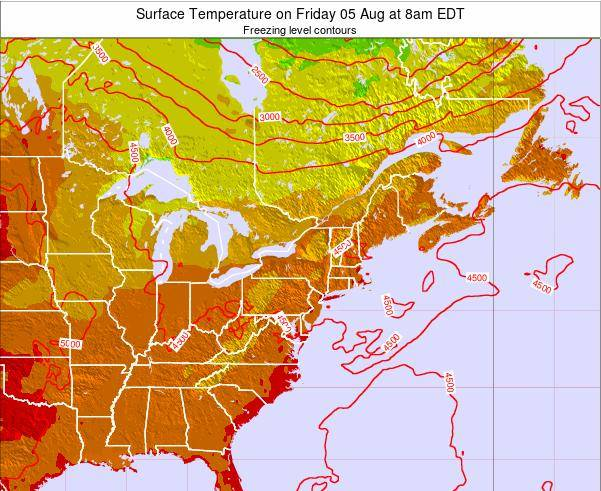 New-York Surface Temperature on Tuesday 21 May at 8am EDT