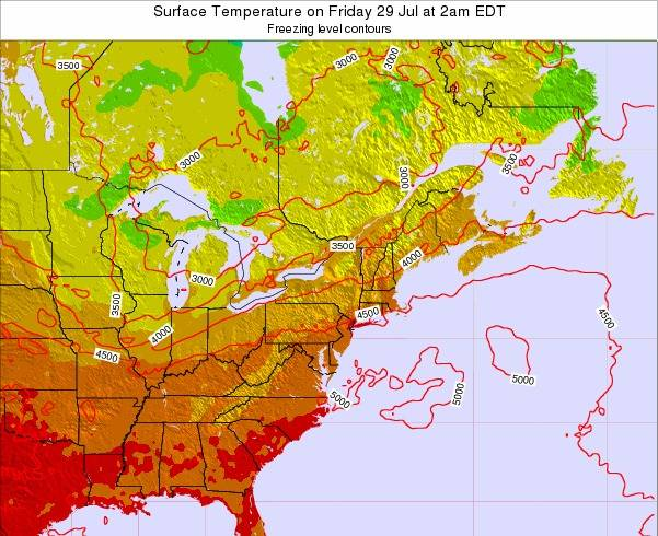 New-Jersey Surface Temperature on Sunday 30 Jul at 2am EDT