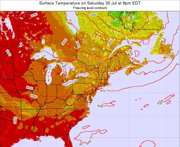 New-York Surface Temperature on Saturday 25 May at 8am EDT