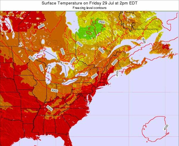New-York Surface Temperature on Wednesday 29 May at 2pm EDT