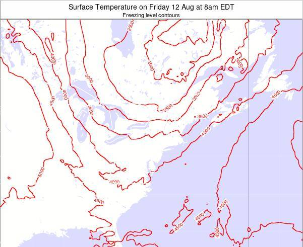 New-York Surface Temperature on Monday 17 Mar at 2pm EDT