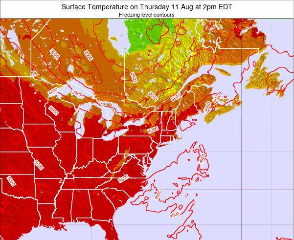New-York Surface Temperature on Tuesday 05 Aug at 2am EDT