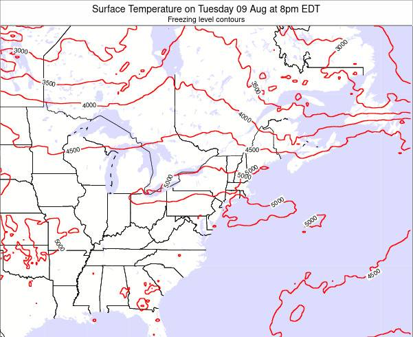 Pennsylvania Surface Temperature on Wednesday 19 Jun at 8am EDT