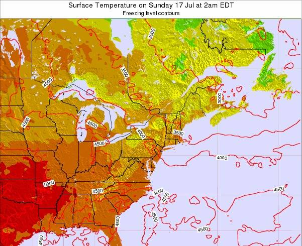 New-York Surface Temperature on Thursday 23 May at 8pm EDT