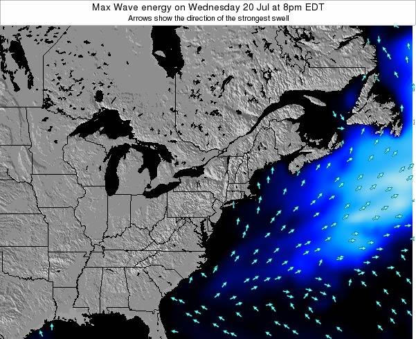 Pennsylvania Max Wave energy on Saturday 29 Apr at 2pm EDT