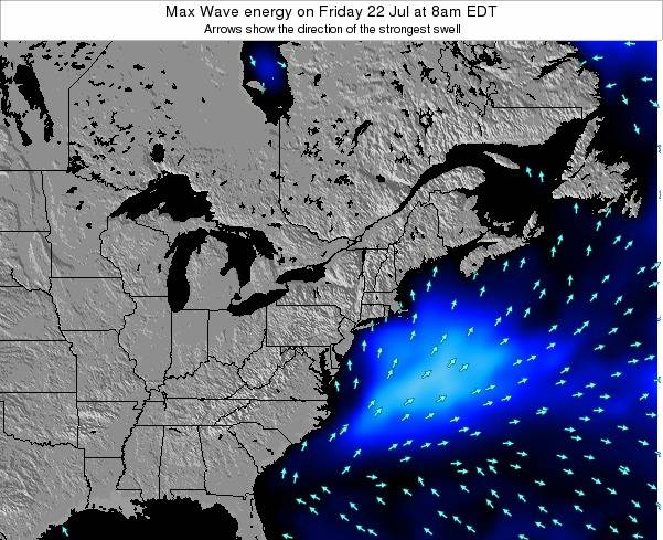 Pennsylvania Max Wave energy on Friday 22 Aug at 2pm EDT