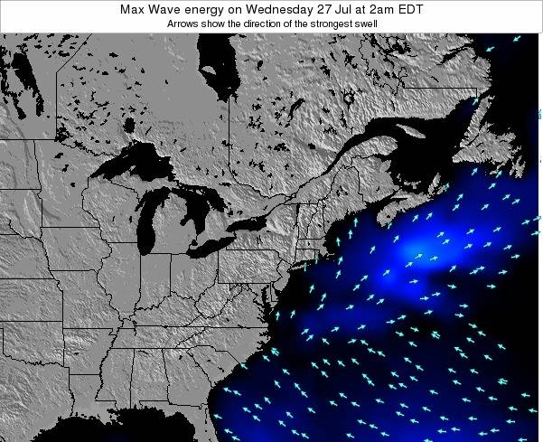 Pennsylvania Max Wave energy on Tuesday 11 Mar at 1am EST