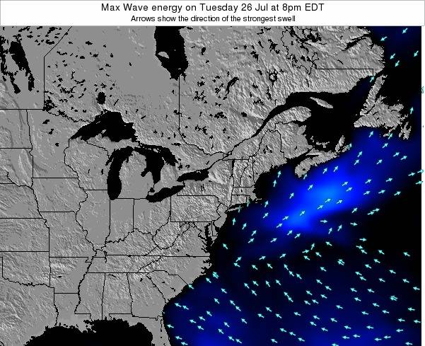 Pennsylvania Max Wave energy on Monday 09 Dec at 1pm EST