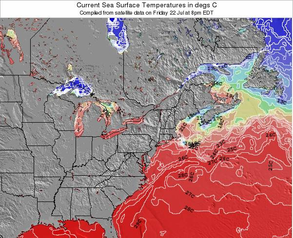 Massachusetts Sea Temperature Map