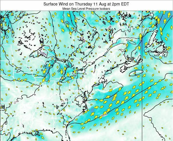 Rhode-Island Surface Wind on Wednesday 22 May at 2pm EDT map