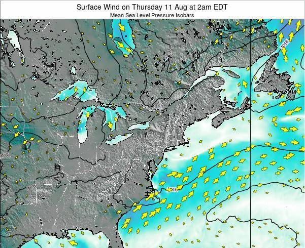New-York Surface Wind on Saturday 25 May at 8pm EDT map
