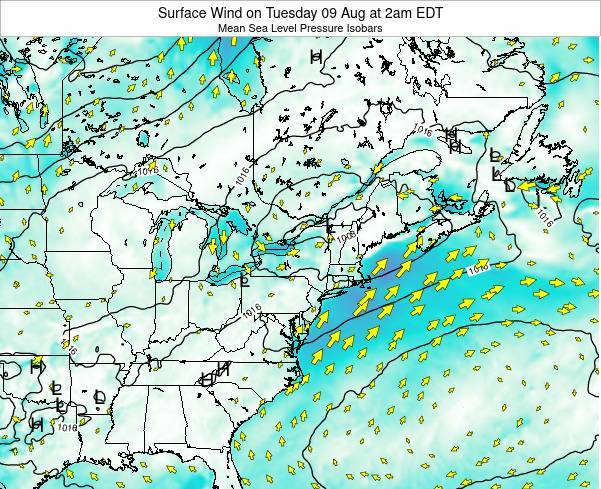 Rhode-Island Surface Wind on Sunday 24 Mar at 8pm EDT map