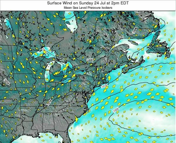 Maryland Surface Wind on Wednesday 22 May at 8am EDT
