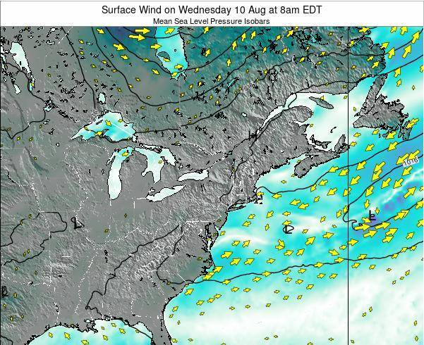 Rhode-Island Surface Wind on Thursday 23 May at 2pm EDT map